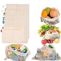 再利用可能な青果用バッグ 6点 オーガニックコットンメッシュバッグ 果物/野菜/庭/野菜/おもちゃ用 - 環境に優しいネットバッグ - 洗濯機洗い可 (2 x S、2 x M、2 x L)