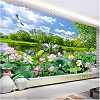 Xbwy 中国風写真の壁紙3D白鳥の湖ロータス池壁画リビングルームテレビソファの背景壁絵画-400X280Cm