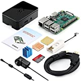 GooBang Doo ABOX Raspberry Pi 3 Starter Kit with Pi 3 Model B Barebones Computer Motherboard 64bit Quad Core,32G Class 10 SanDisk Micro SD Card,HDMI cable,2.5A Power Supply,Black Case