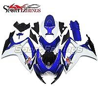 SPMOTO におけるオートバイ外装部品適合鈴木スズキ GSX R750 GSX R600 GSXR 750 600 2006 2007、青と白の完全カウリング