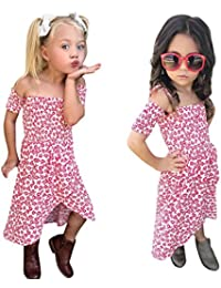 Feiscat子供服 可愛い服 女の子 ドレス ブラック 花柄 半袖 プルオーバー 結婚式 ベビー服 ドレス ロングドレス ワンピース パーティースカート カジュアル おしゃれ ファション プリンセスドレス お出かけ 夏 海