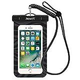 防水ケース Auwet 【ネックストラップ付属】潜水 お風呂 水泳 砂浜 水遊びなど用防水携帯ケースフォンケース・カバー IPX8認定獲得 iPhone SE/5/5s/6/6s/Plus/Galaxy Note5/S7edge/Xperia XZ/Z5P/Nexus 6Pスマホ防水ケースなど5.7インチ以下のスマホに対応 (ブラック)