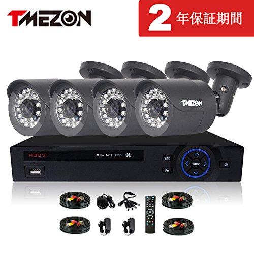 『TMEZON CVI防犯カメラセット4台 200万画素 赤外線LED24個 2.8mmレンズ ハイビジョンカメラ 1080pレコーダー (ブラック)』のトップ画像