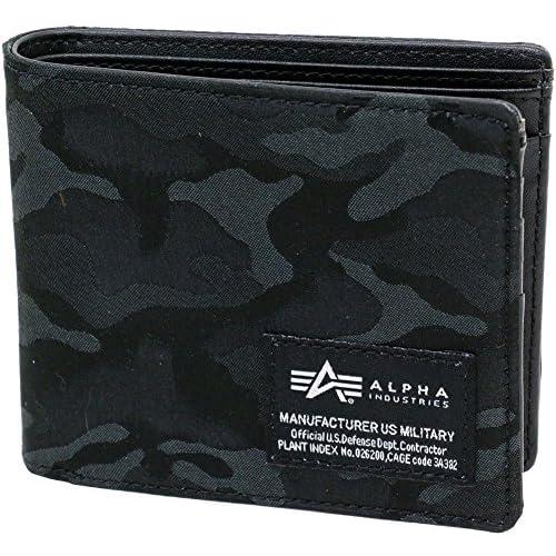 ALPHA INDUSTRIES INC(アルファ インダストリーズ) 財布 二つ折り メンズ ブラック Free