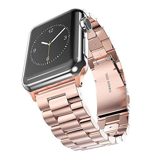 SUNDAREE® for Apple Watch バンド38mm&40mm, ビジネス風のベルト、アップルウォッチバンド 高品質なステンレススチール製バンド、ステンレス留め金製、Apple Watch ベルト 全機種対応 Apple Watch Series 4/3/2/1(スチール製ローズゴールド38&40)