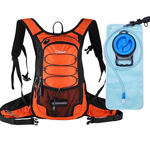 ハイドレーションバッグ 防水 軽量 ランニングバッグ リュック 自転車(2L給水袋付き) メンズ レディース サイクリングバックパック ハイキングリュック (オレンジ-ブラック)