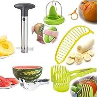Fruit Peelers & Vegetable Cutters Set Of 6 By Wahilulu - Stainless Steel Pineapple Corer, Watermelon Slicer, Plastic Orange Peeler, Banana, Tomato, Kiwi Slicer & Avocado Knife - Handheld Kitchen Tools