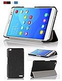 PopSky全4色Huawei MediaPad X1/X2 7.0 (Honor X1/Honor X2) 専用保護ケース シルク紋超薄型 超軽量三つ折 マグネット開閉式PCカバー ,高級PUレザーケース・カバー (ブルー)