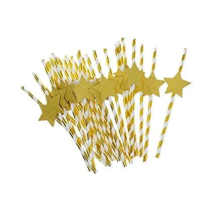 【ノーブランド 品】25本 ホットゴールデン バーの装飾 ビーチパーティー カクテルストロー 11種 - 金スター
