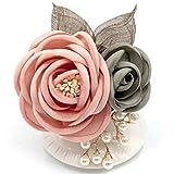 Amalet Roses 2輪 ローズ パール リーフ コサージュ 葉っぱ フォーマル 卒業式 入学式 卒園式 結婚式 (ピンク)