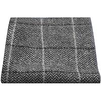 Luxury Graphite Grey Herringbone Check Pocket Square, Handkerchief, Tweed