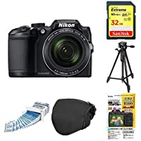 Nikon デジタルカメラ COOLPIX B500 光学40倍ズーム 1602万画素 単三電池 ブラック B500BK + アクセサリー5点セット(SDカード 32GB、液晶保護フィルム、カメラケース、クリーニングティッシュ、三脚)