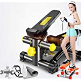 Fitness Stepper with Resistance Bands, Mini Pedal Exerciser, Non-Slip Pedal & Adjustable Magnetic Resistance, LCD Display Shows Calories Steps Time