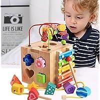 HuaQingPiJu-JP 子供のための多機能木製シェイプソータージオメトリックソートボックス教育形状色認識玩具