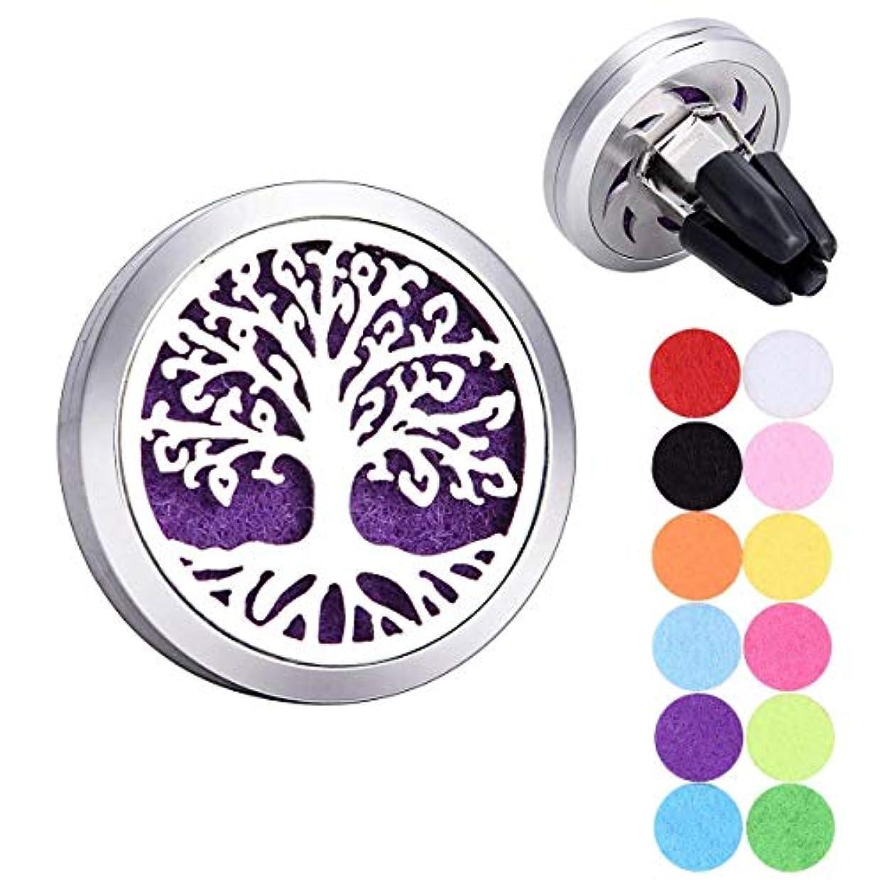 無効大使即席Tree of Life Car Air Freshener Aromatherapy Essential Oil Diffuser 316 Stainless Steel Hollow Locket with Vent...
