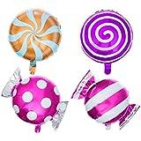 Toyvian 12ピースキャンディーロリポップ箔風船ヘリウムアルミ誕生日バルーンパーティーの装飾用品盛り合わせ色