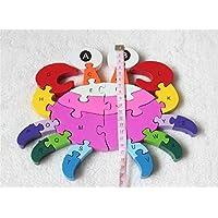 KINGZUO 動物カニ アルファベット デジタル 積み木パズル 木製のおもちゃ 誕生日のプレゼント 子供パズル 知育玩具 幼児教育アプリシリーズ 知識を増すおもちゃ雑貨