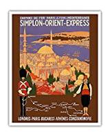 シンプロンオリエントエクスプレス - ロンドンからコンスタンティノープルへ - パリ・リヨン・メディテラネ鉄道(PLM) - ビンテージな鉄道旅行のポスター によって作成された ロジャー・ブロダース c.1922 - アートポスター - 41cm x 51cm