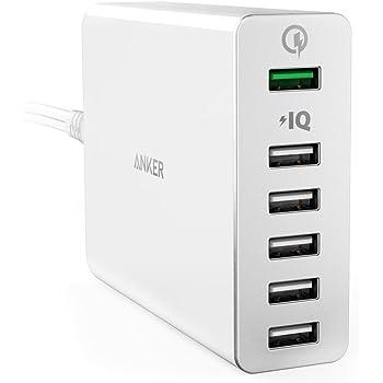 【Quick Charge 2.0対応】 Anker PowerPort+ 6 (QC対応 60W 6ポート USB急速充電器) Galaxy S6 / Edge / Plus, Note 5 / 4, Nexus 6, iPhone, iPad他対応 (ホワイト) A2062121