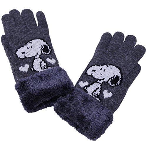 (スヌーピー)SNOOPY PEANUTSファー付き5本指手袋(キッズからレディーズ) グレー