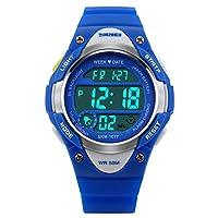 子供用アウトドアスポーツLEDデジタルアラームストップウォッチ防水軽量子供のドレス腕時計 ブルー