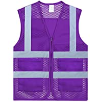 GOGO Unisex US Size Mesh Volunteer Vest Zipper Front Safety Vest with Reflective Strips and Pockets-Purple-US XS