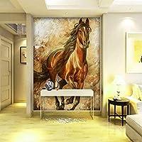 Lixiaoer カスタム3D写真の壁紙現代絵画壁画リビングルームレストランホテルオフィス壁紙馬の背景壁画-200X140Cm