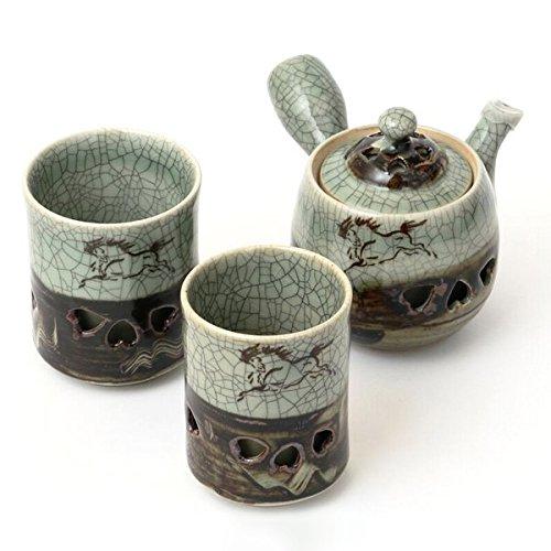 大堀相馬焼 松永窯 茶器揃えセット(二重急須・夫婦二重湯呑み)