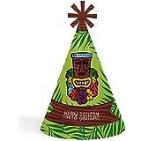 Tiki Luau – 円錐トロピカルハワイアン夏Happy Birthday Party Hats for Kidsと大人のセット – 8 (標準サイズ)