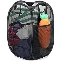 補強メッシュポップアップランドリー洗濯物ストレージバスケットHamper、折りたたみ式丈夫ハンドルとサイドポケット、ブラック