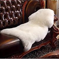HLZDHKJ フェイクシープスキンラグ ムートンマット 洗える 人工ウールマット 長毛 ふんわり 柔らか滑り止め付き高級感あるソファシートマットリビングルームラグ (ホワイト, 50 X 80 CM)
