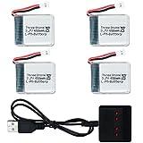 3.7V 650mAh Lipoバッテリー( Molex 51001–2pプラグ)とx4充電器for Tozo x8tw q1012Skyhunter FPVドローンRCクアッドコプタースペアパーツ( 4個)