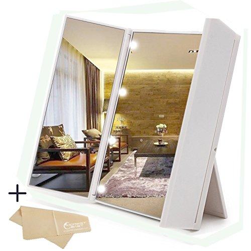 鏡 卓上鏡 化粧鏡 ハートライト付き 鏡折りたたみ 持ち運び便利 角度調整可能 拭き布