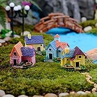 4pcs villa-2.7x3cm Miniature Dollhouse Fairy Garden Yard Bonsai Landscape Figurine DIY Decoration