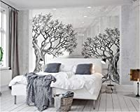 Weaeo 現代の家の背景壁の3D壁紙スペース白黒スケッチラインツリー写真壁紙の壁紙パペットの連絡先-350X250Cm