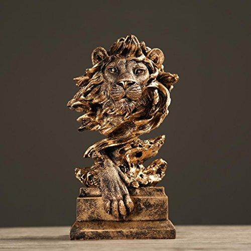 Wddwarmhome レトロクリエイティブ樹脂彫刻ライオンクラフト装飾カフェパーラーオフィス装飾家具ギフト、16 * 14 * 31センチメートル ( 色 : C )