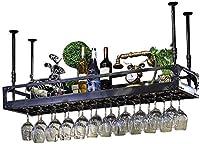 YXZQ収納棚、ワイングラスラック、シェルフワイングラスホルダー、シャンパングラスラック、バーレストランキッチン用ガラスラック(色:黒、サイズ:120 * 35cm)