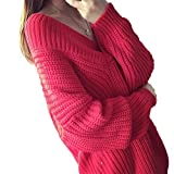 Vネックロングセーター ざっくり ローゲージ ゆるニット リブ編み セーター 選べる4色 フリーサイズ  (ピンク)