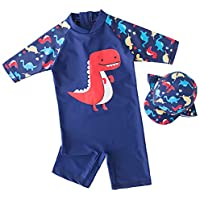 7-Mi Boys Sun Protection UPF 50+ Rash Guard Set Kids Swimsuit Shirt Trunk Set with Swim Cap 1-5Year