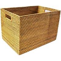 ラタンとアタで編んだ持ち手が付いたでっかいバスケットボックス収納?長方形 39cm×27cm