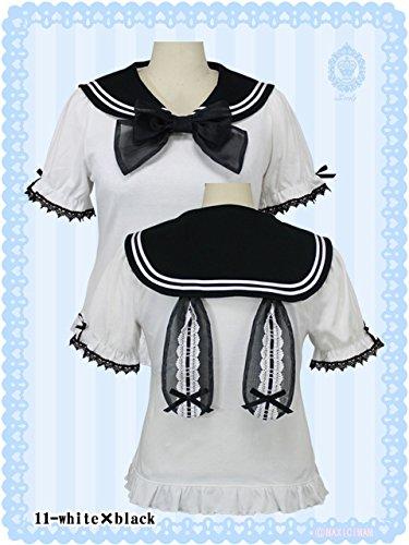 Lovely MAM MAXICIMAM ラブリーシュクレボンボンうさちゃんのセーラーカットソー♪ウサ耳 LVW2003 (11.ホワイト×ブラック(white×black-no.11))