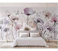 Weaeo リビングルームの寝室のソファの背景家のインテリアの壁紙のためのカスタム3D壁紙花のライラックの花の水彩壁画-200X140Cm