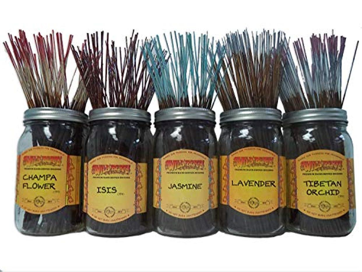 オーガニック文明化時刻表Wildberry Incense Sticks Florals & Greens Scentsセット# 1 : 20 Sticks各5の香り、合計100 Sticks 。