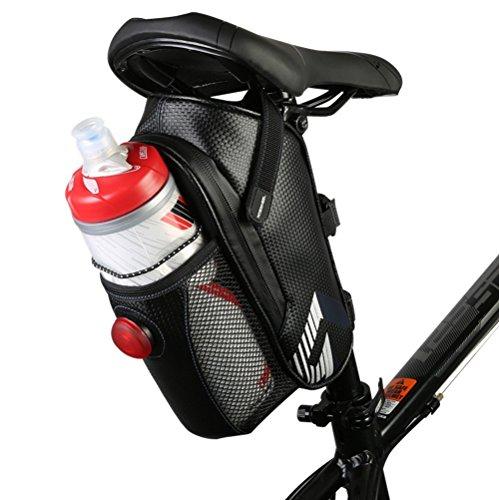Best--Fire 自転車 サドルバッグ 水筒入れ付き 全防水 テールライト付き 軽量 新デザイン 自転車バッグ
