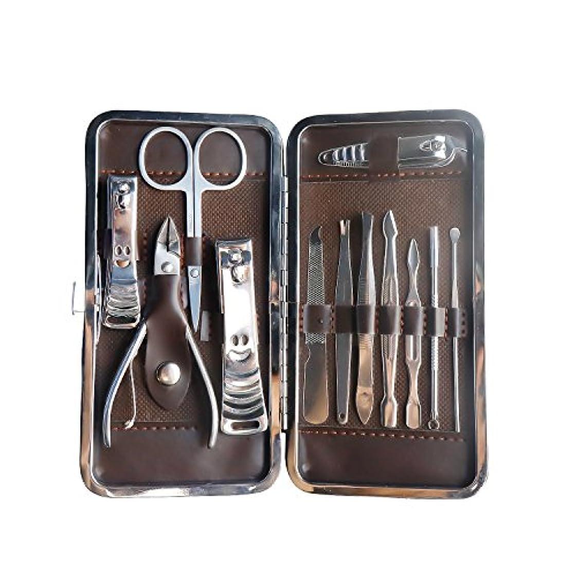ファシズムストローフローLS-EPOCH爪切りセット 、高級感 ネイルケア12点セット グルーミング エチケット ハサミ 爪 やすり、 眉用ハサミ、耳かきなどを含む グルーミング キット ステンレス製、男女兼用 、旅行用 贈り物 携帯 収納ケース付き