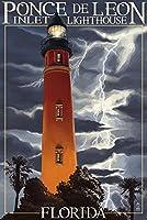 Ponce de Leon Inlet灯台、フロリダ州–Lightning at Night 12 x 18 Art Print LANT-37007-12x18