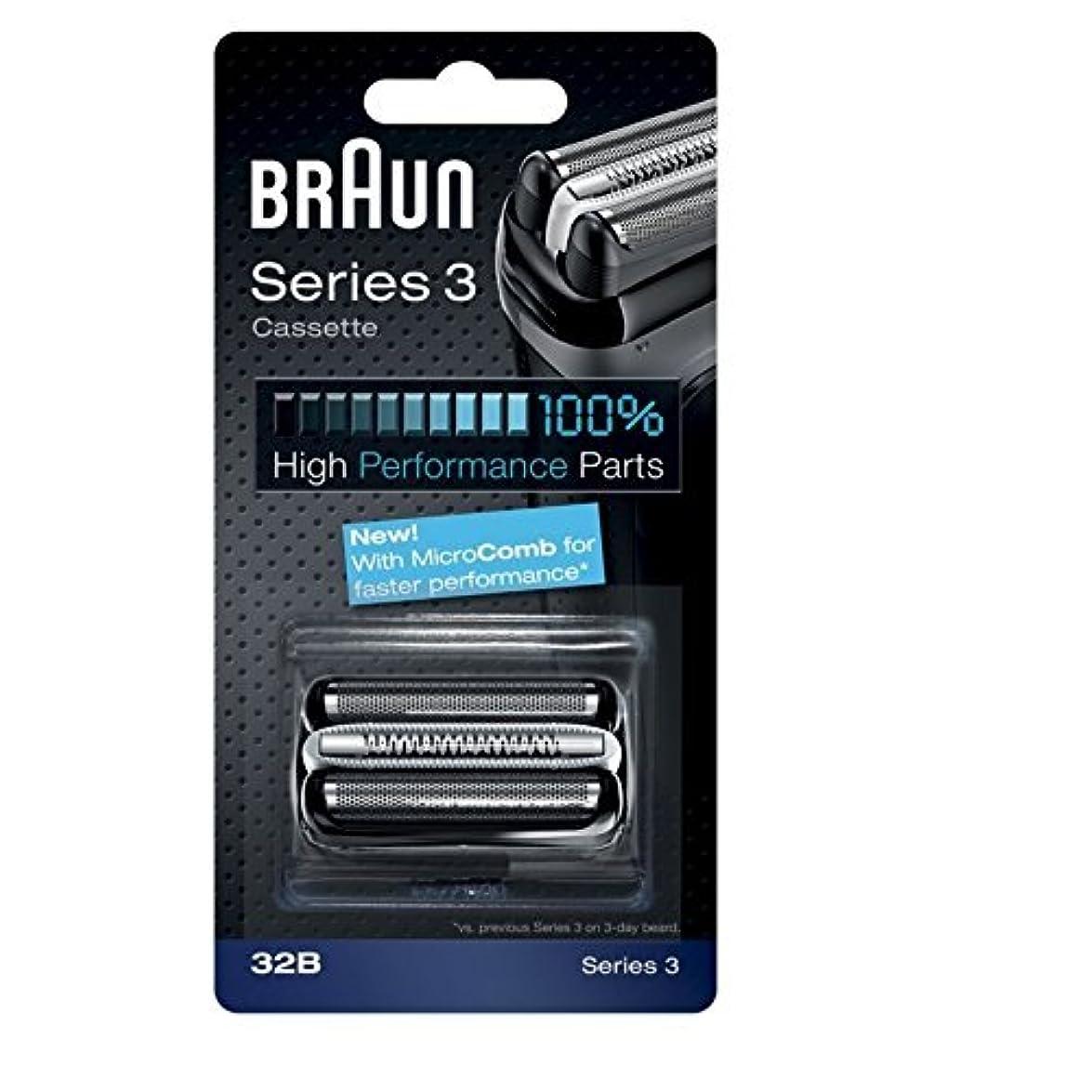 エレガントオーガニックミッションBraun razor Replacement Foil & Cutter Cassette 32B Series 3 320 330 340 350CC black shaving heads [並行輸入品]
