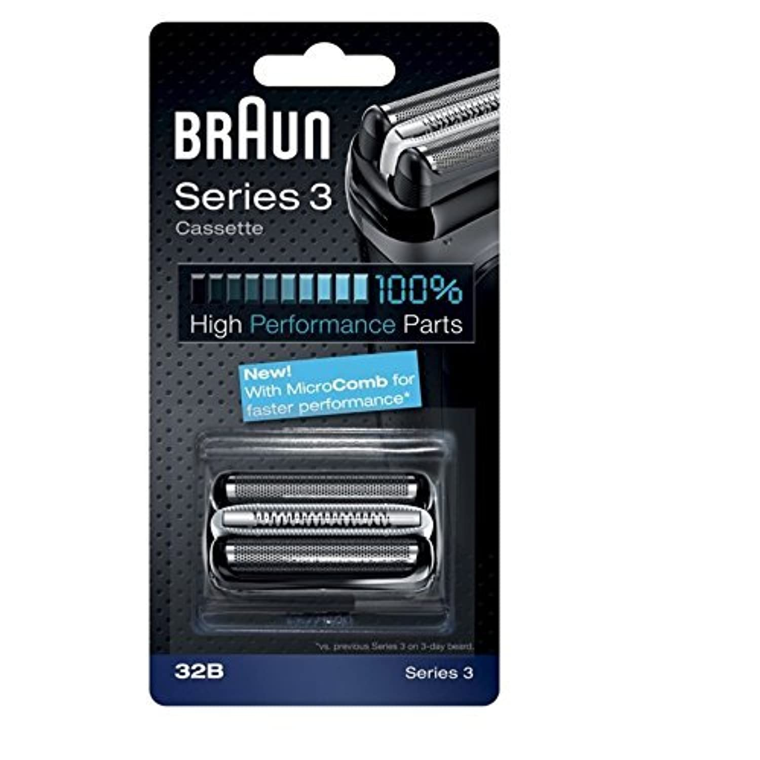 Braun razor Replacement Foil & Cutter Cassette 32B Series 3 320 330 340 350CC black shaving heads [並行輸入品]