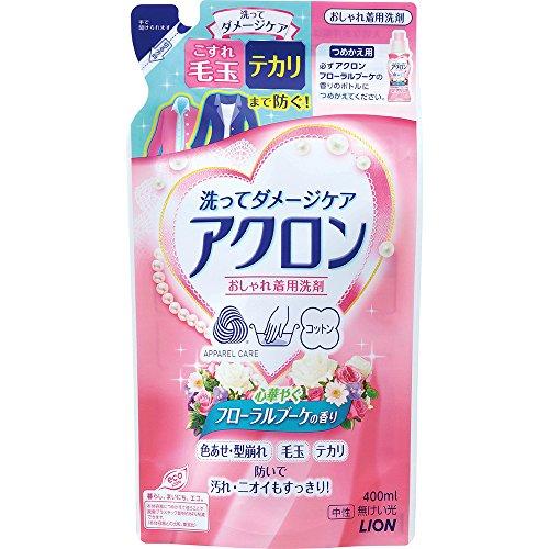 『【まとめ買い】アクロン おしゃれ着洗剤 フローラルブーケの香り 詰め替え 400ml×2個』の1枚目の画像