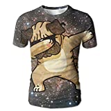 Dabbing Pug パグ メンズ 丸首 Tシャツ 半袖 今季最新 量軽 爽快 3Dプリント 薄手 吸汗速乾 ファッション おしゃれ XL